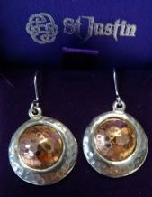Pewter Ear Rings with Offset Copper Disc Insert